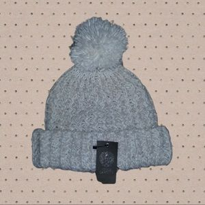 Vince Camuto Puff Beanie Light Cream with Sivler